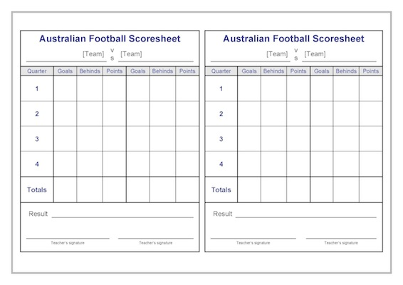Australian Football Scoresheets Template  Teacher Timesavers