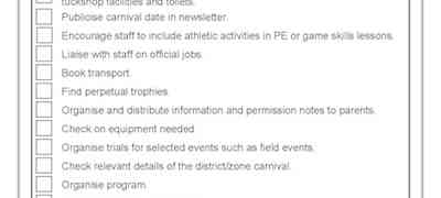 Checklist P1 Athletics Carnival