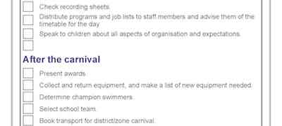 Checklist P2 Swimming Carnival template