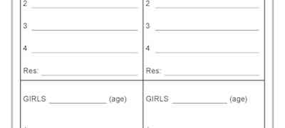 Girls Relay Teams - Swimming Carnival Template
