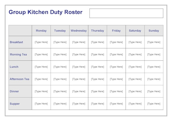 Group kitchen duty roster template teacher timesavers for Roster timetable template