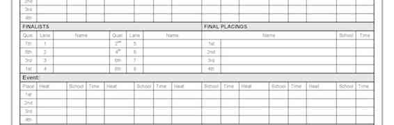 Interschool Freestyle Recording Sheet Swimming Carnival Template