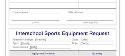 Interschool Sports Equipment Request Template