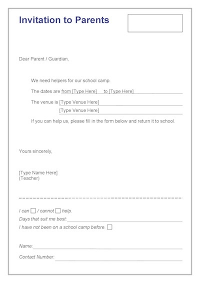 Invitation To Parents Template