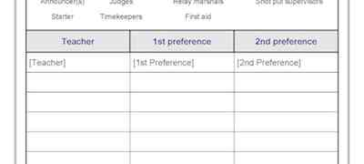 Athletics Carnival JobsTeachers Preferences Template