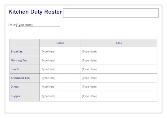 Kitchen Duty Roster Template