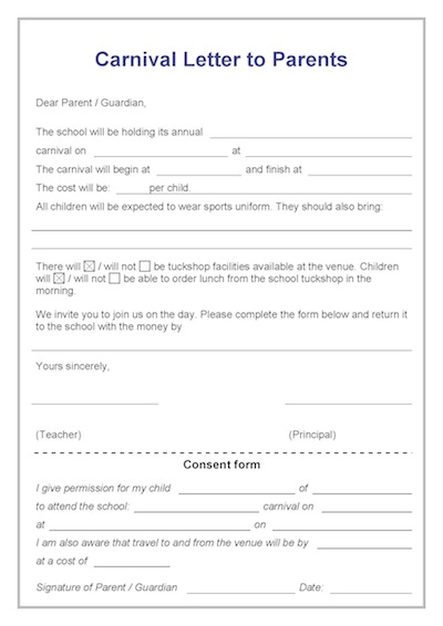 letter to parents template from teachers - letter to parents carnivals template teacher timesavers