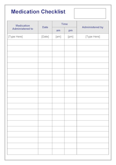 medication checklist template