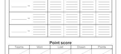Point Score General Scoresheets Template