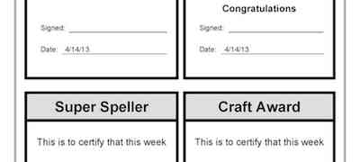 Super Reader Maths Speller Craft Awards Template