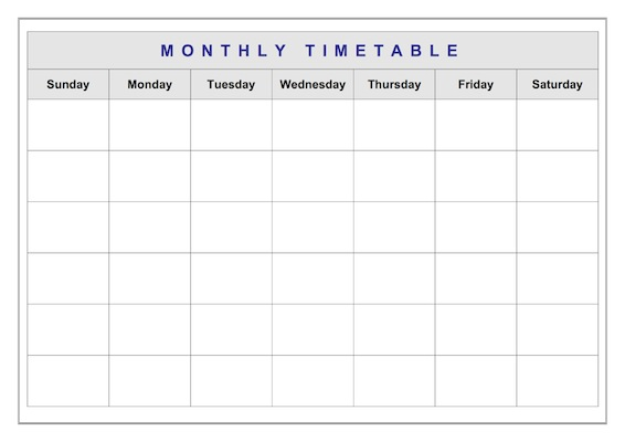 Monthly Classroom Timetable  Administration Template  Teacher